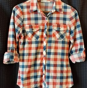 Lynn Ryan long sleeve plaid shirt Size M